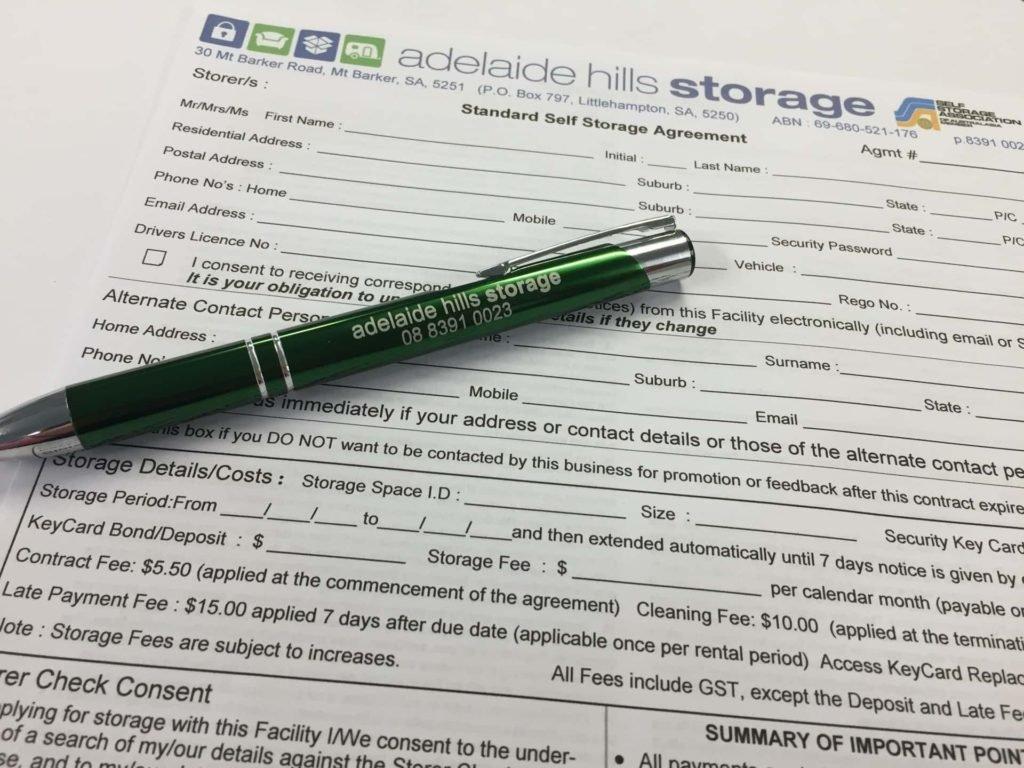 Standard Self Storage Agreement