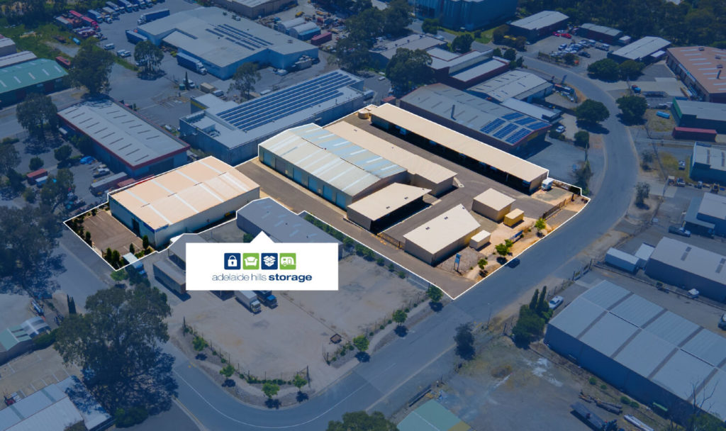 Drone shot of storage unit complex with highlighted sectioning
